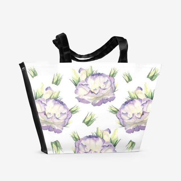 Пляжная сумка «Эустома паттерн»