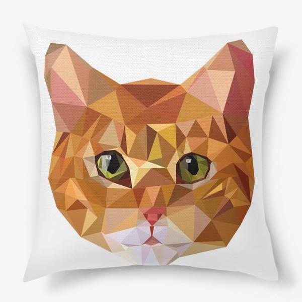 Подушка «Рыжий кот в стиле Low Poly»