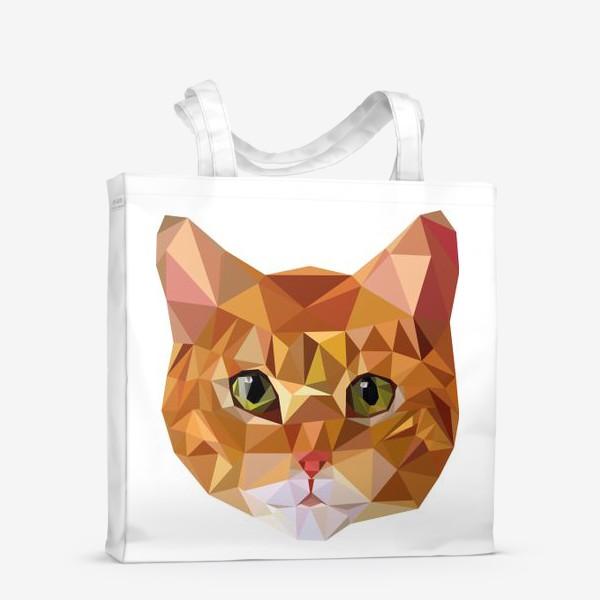 Сумка-шоппер «Рыжий кот в стиле Low Poly»