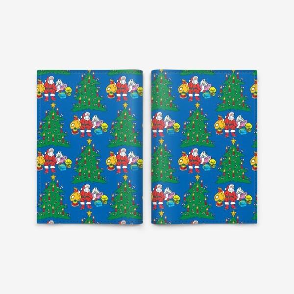 Обложка для паспорта «Санта и Рождественская Ель»