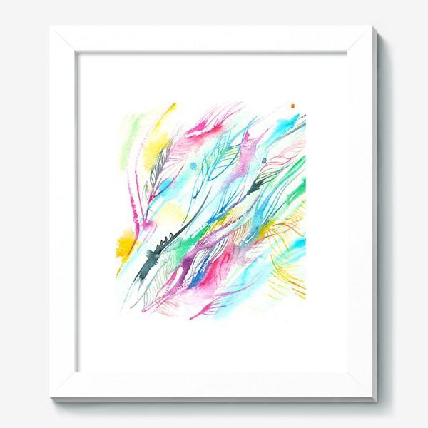 Картина «абстрактные акварельные перья»