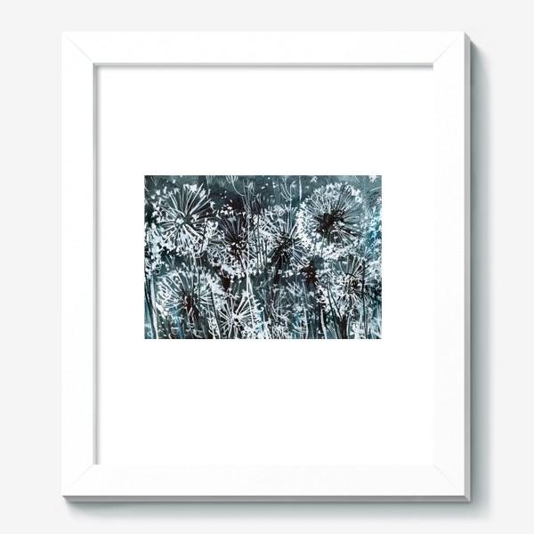 Картина «белые одуванчики на черном фоне»