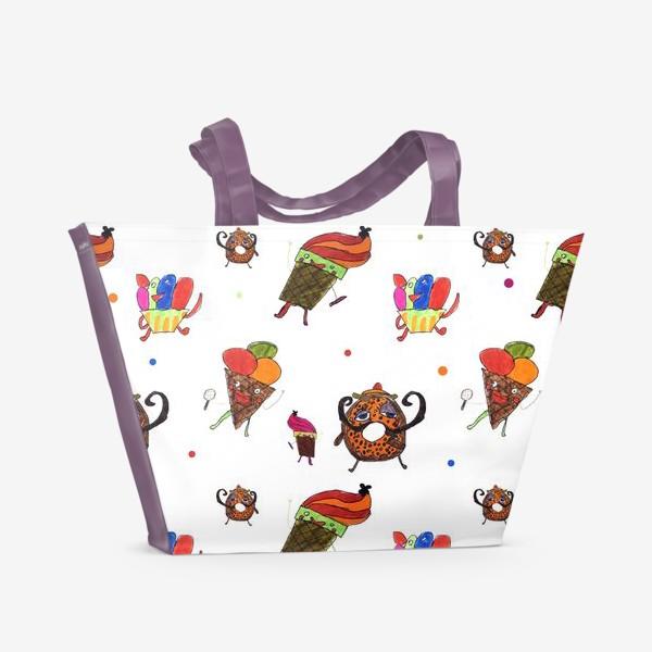 Пляжная сумка «Десерт, принт, паттерн»