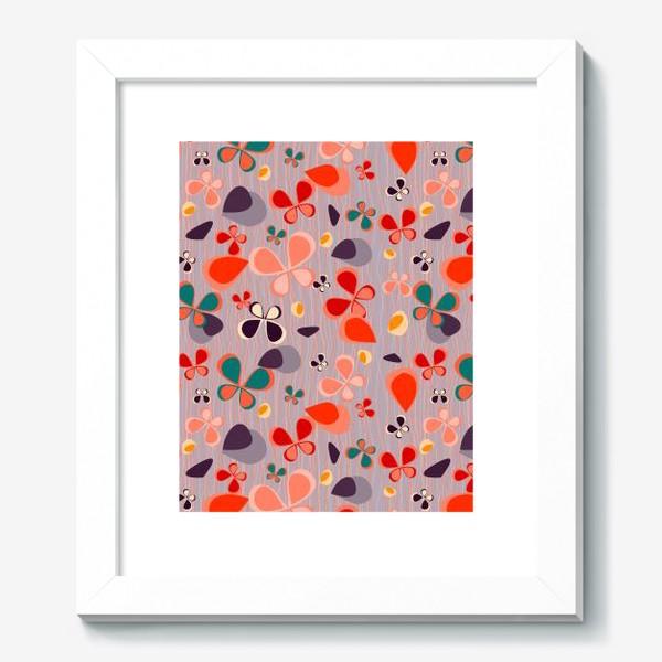 Картина «яркий узор с авбтрактными бабочками и полосками. Нежно фиолетовый с краснами, желтыми и темнами пятнамии»