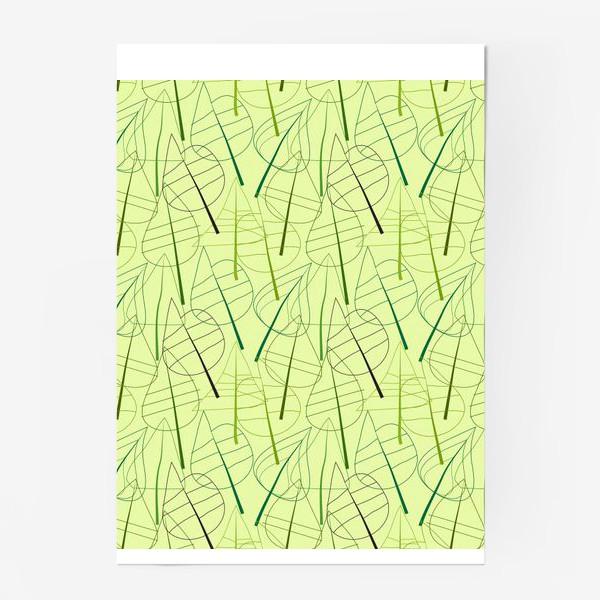 Постер «Зеленый свктлый фон с овбсрактными листьями, нарисованные только линиями»
