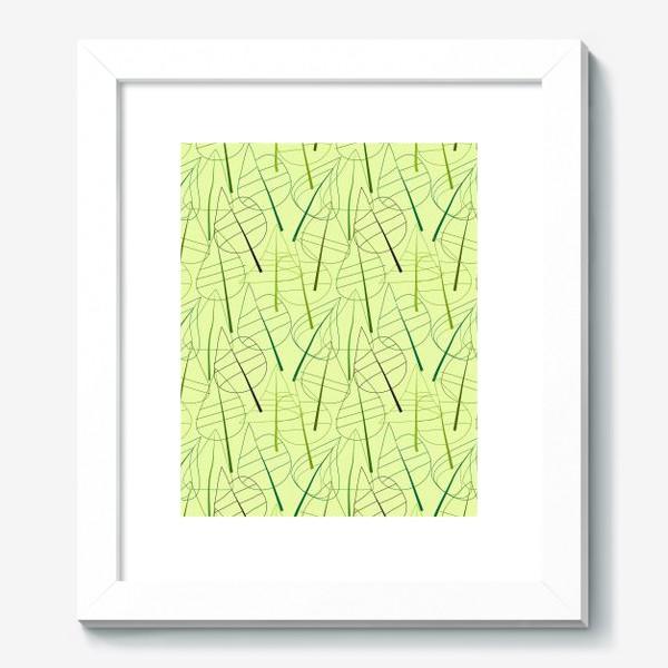 Картина «Зеленый свктлый фон с овбсрактными листьями, нарисованные только линиями»