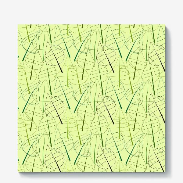 Холст «Зеленый свктлый фон с овбсрактными листьями, нарисованные только линиями»