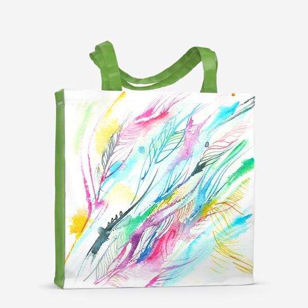 Сумка-шоппер «абстрактные акварельные перья»