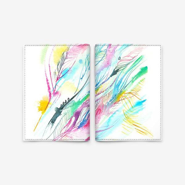 Обложка для паспорта «абстрактные акварельные перья»