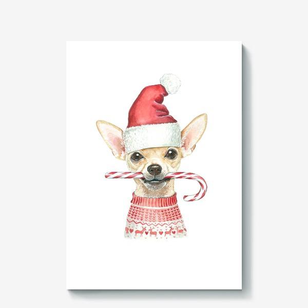 Холст «Чихуахуа Новогодний пес»