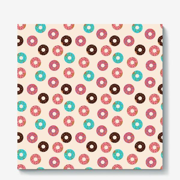 Холст «Пончики на розовом фоне»