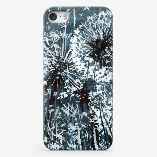 Чехол iPhone «белые одуванчики на черном фоне»