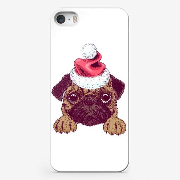 Чехол iPhone «Санта Мопс»