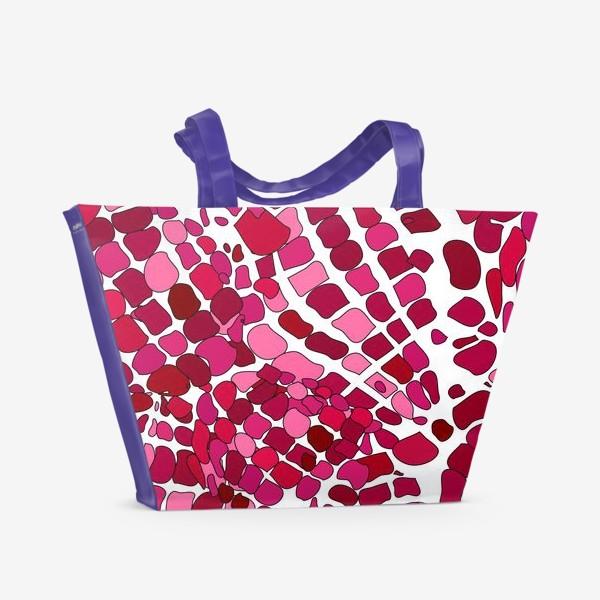 Пляжная сумка «Розовый абстрактный узор»