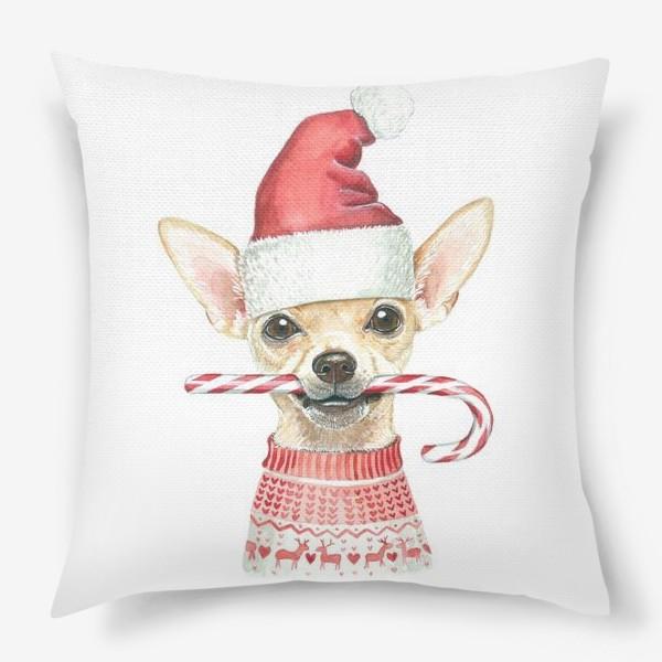 Подушка «Чихуахуа Новогодний пес»