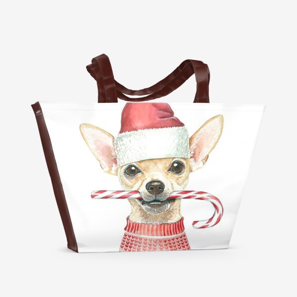 Пляжная сумка «Чихуахуа Новогодний пес»
