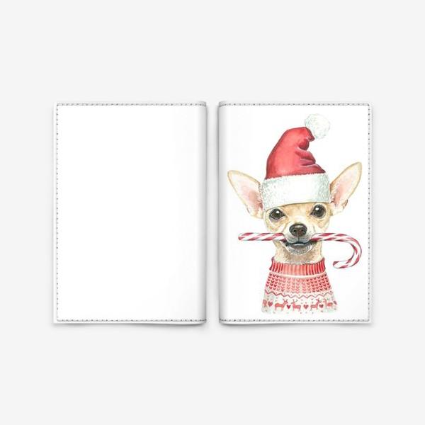 Обложка для паспорта «Чихуахуа Новогодний пес»