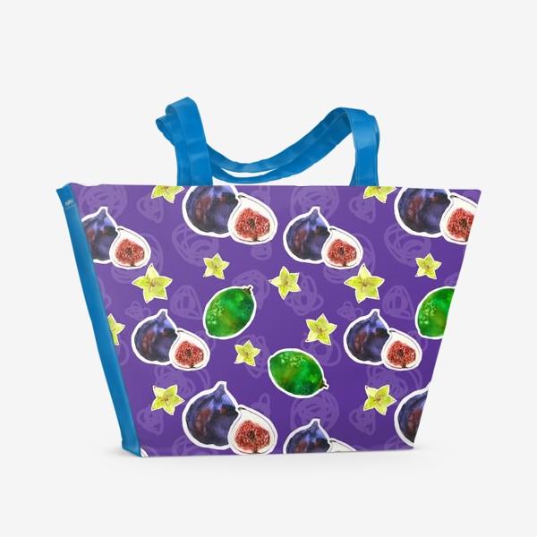Пляжная сумка «Инжир и лайм на синем.»
