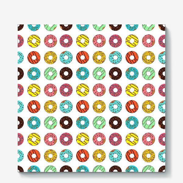 Холст «Разноцветные пончики»