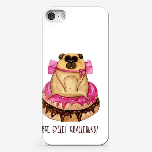 Чехол iPhone «Мопс с пончиками»