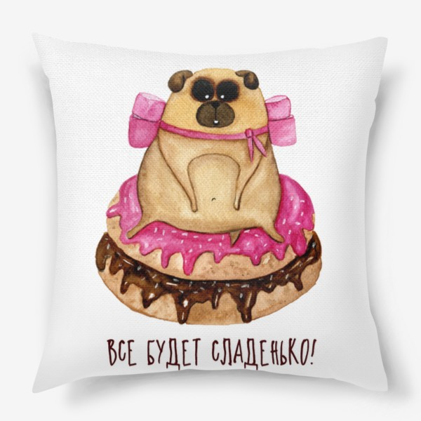 Подушка «Мопс с пончиками»