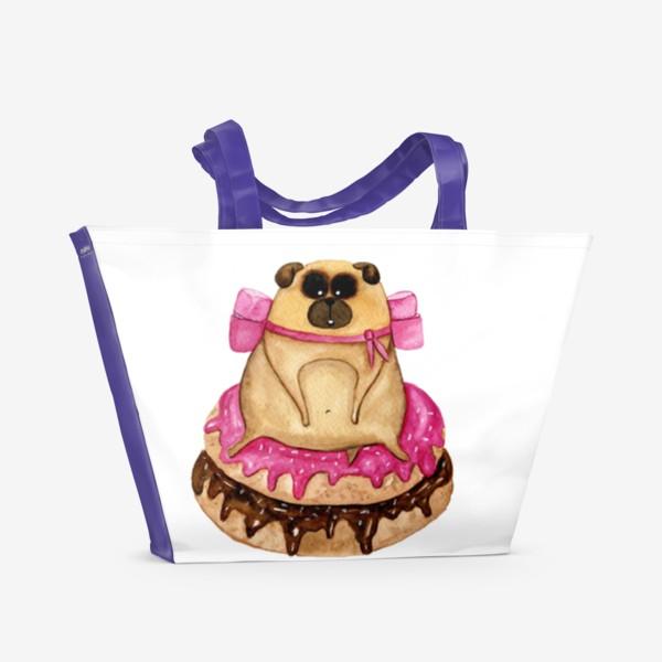 Пляжная сумка «Мопс с пончиками»