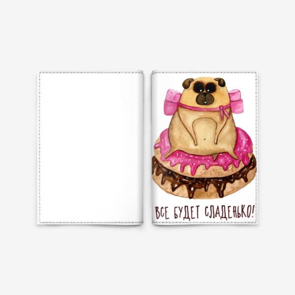 Обложка для паспорта «Мопс с пончиками»