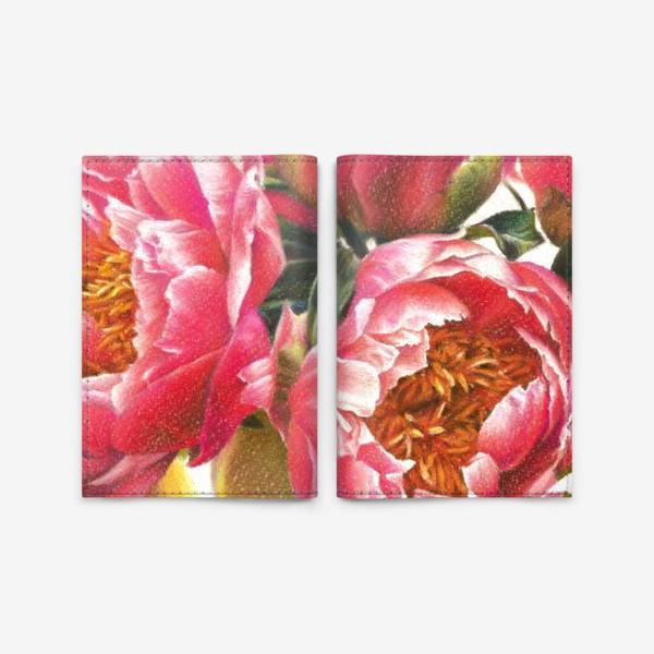 Обложка для паспорта «розовые пионы»