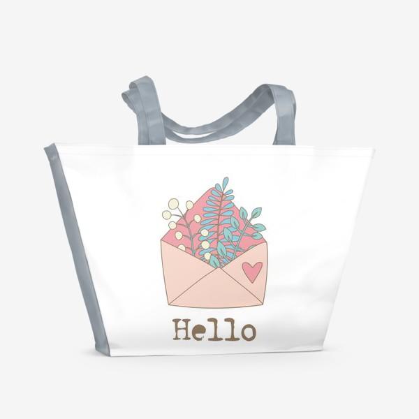Пляжная сумка «Конверт с цветами»