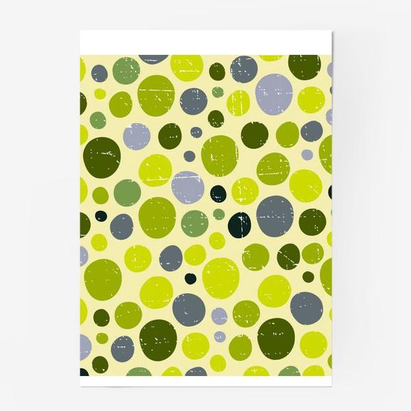 Постер «Круги, зеленый горох с текстурой, абстракция, иллюстрация»