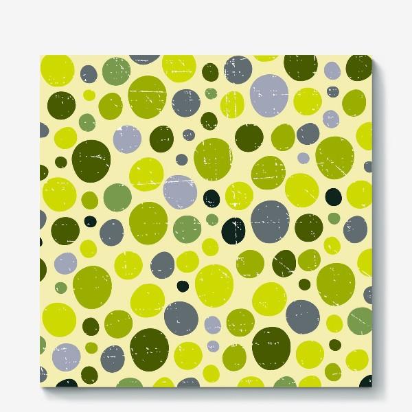 Холст «Круги, зеленый горох с текстурой, абстракция, иллюстрация»
