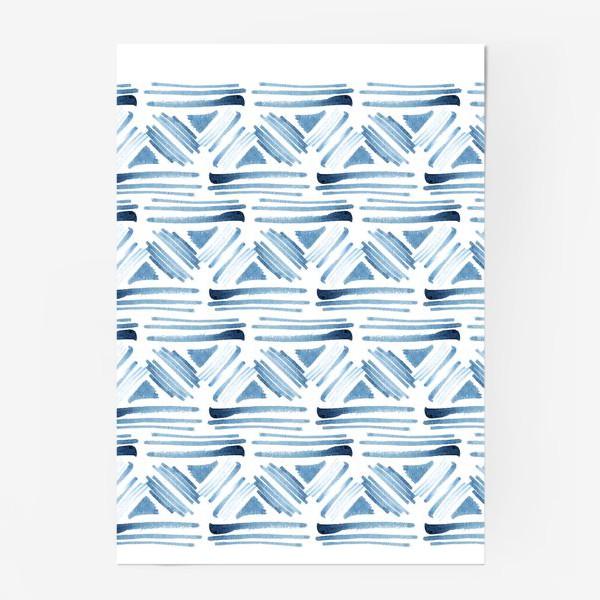 Постер «Акварельный бело-синий этнический узор»