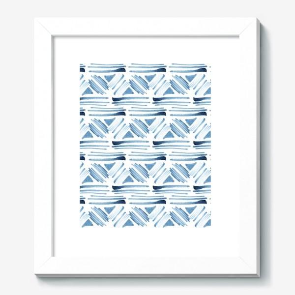 Картина «Акварельный бело-синий этнический узор»