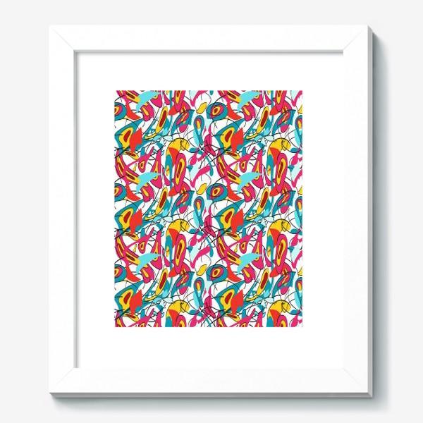Картина «Абстрактный разноцветный узор в голубой и розовой гамме с мягкими формами и линиями»
