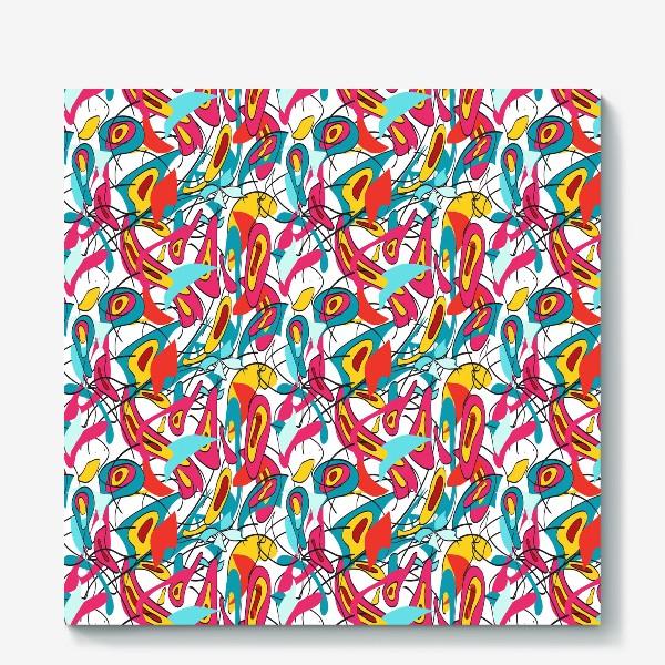 Холст «Абстрактный разноцветный узор в голубой и розовой гамме с мягкими формами и линиями»