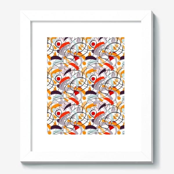 Картина «Абстрактный разноцветный узор в серой, розовой и растельной гамме с обтекаемыми мягкими формами.»