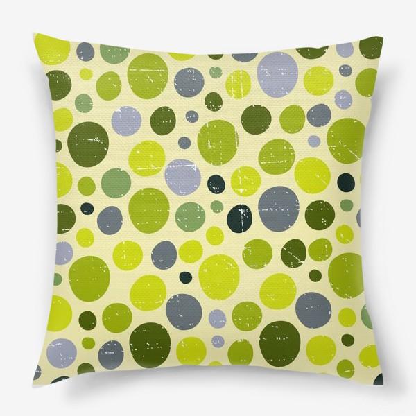 Подушка «Круги, зеленый горох с текстурой, абстракция, иллюстрация»