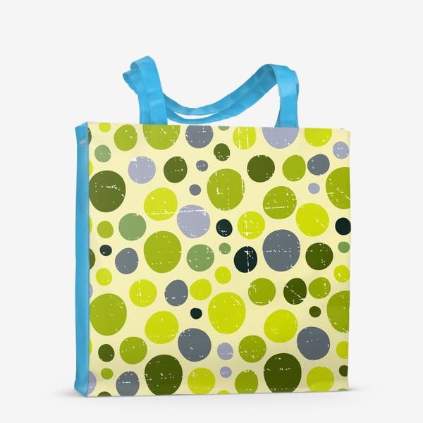 Сумка-шоппер «Круги, зеленый горох с текстурой, абстракция, иллюстрация»