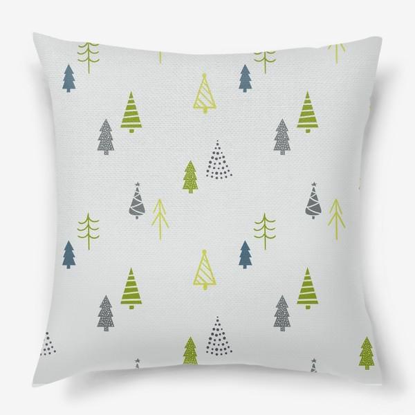 Подушка «Елочки. Зимний узор (зеленый)»