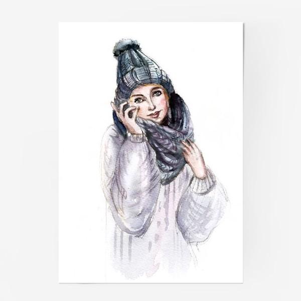 Постер «Девушка в зимней шапке и шарфе»