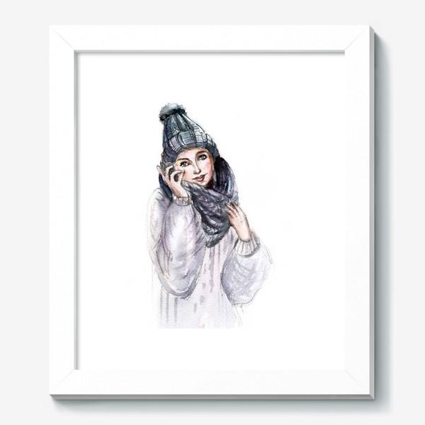 Картина «Девушка в зимней шапке и шарфе»