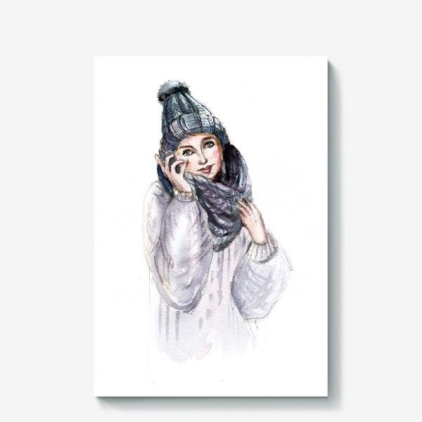 Холст «Девушка в зимней шапке и шарфе»