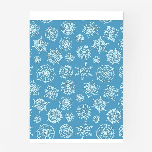 Постер «Новогодние снежинки (голубой фон)»