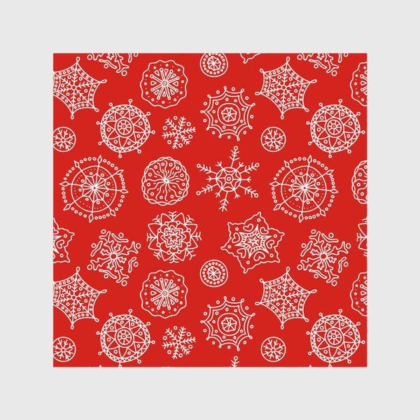 Шторы «Новогодние снежинки (красный фон)»