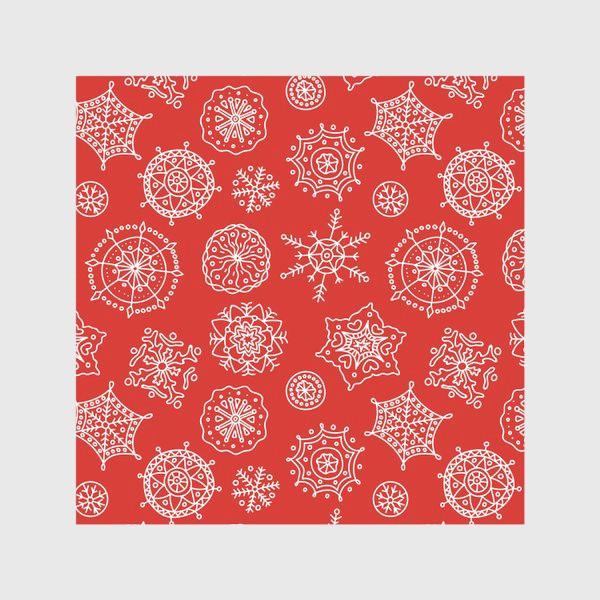Скатерть «Новогодние снежинки (красный фон)»
