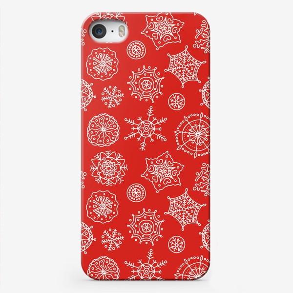 Чехол iPhone «Новогодние снежинки (красный фон)»
