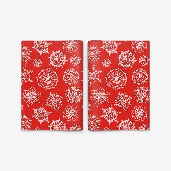 Обложка для паспорта «Новогодние снежинки (красный фон)»