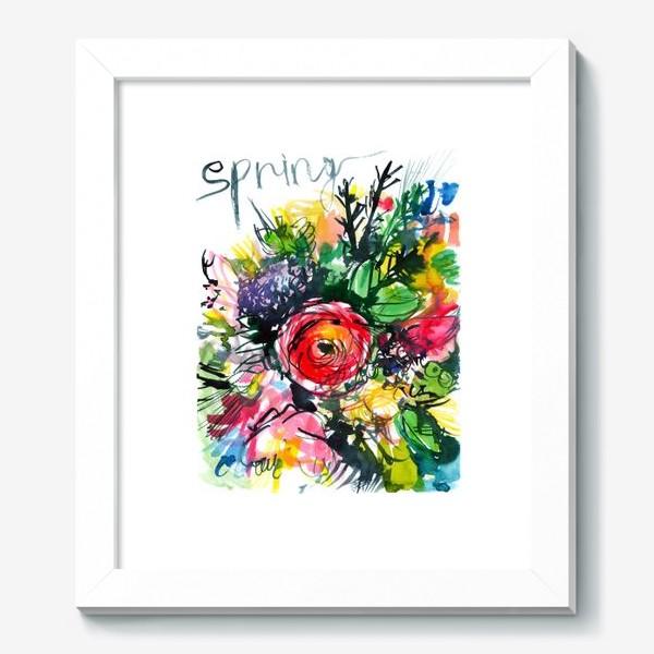 Картина «разноцветный букет с большим красным лютиком в центре, весна»