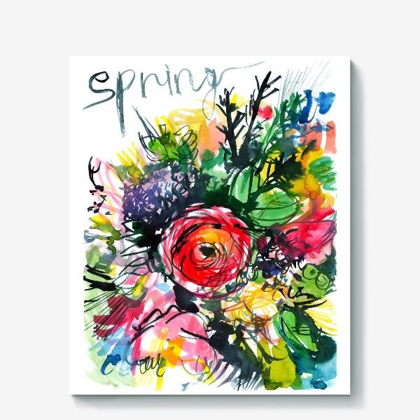 Холст «разноцветный букет с большим красным лютиком в центре, весна»