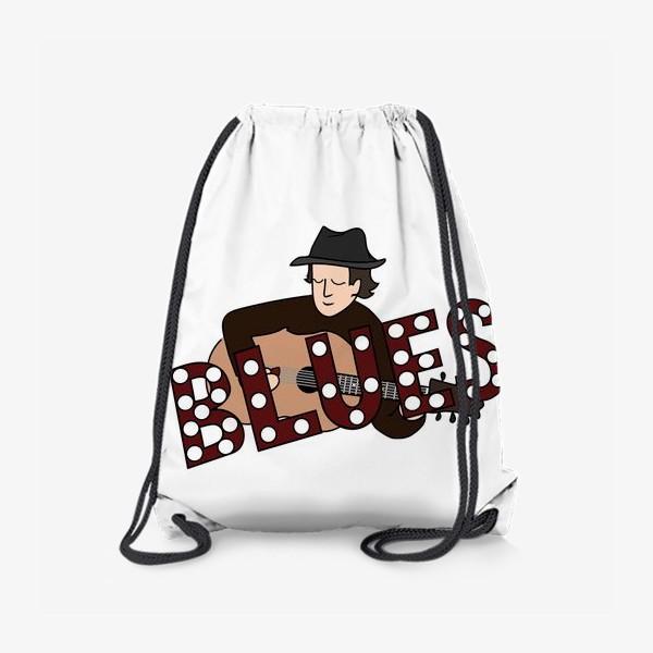 Рюкзак «Блюзовый музыкант с гитарой и в шляпе, надпись BLUES»